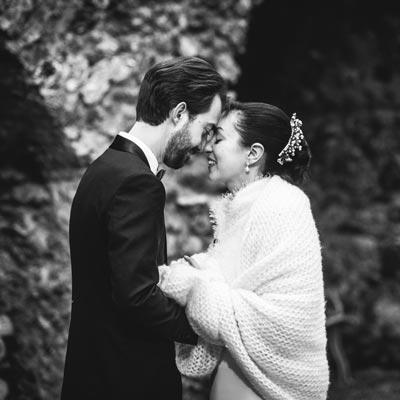 Mariage en hiver, séance photo de couple au domaine Miltat à Pierry