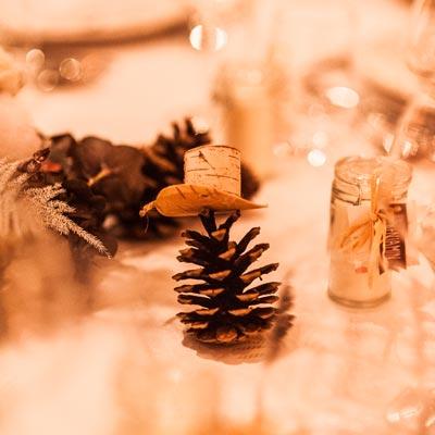 Mariage en hiver, photo de décoration des tables