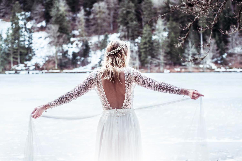Mariage en hiver, photo de la robe