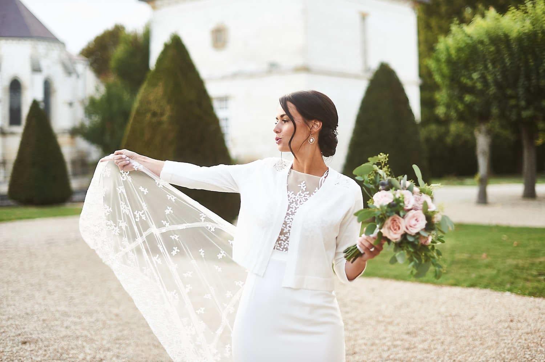 Portrait de la mariée au château de Vitry-la-Ville